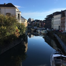 Ghent's main canal-way between the hostel and the Kinopolis